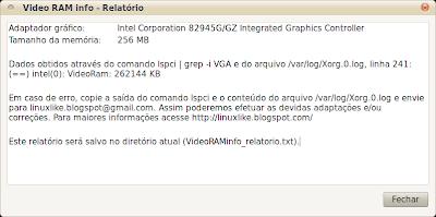 Video RAM info - GUI