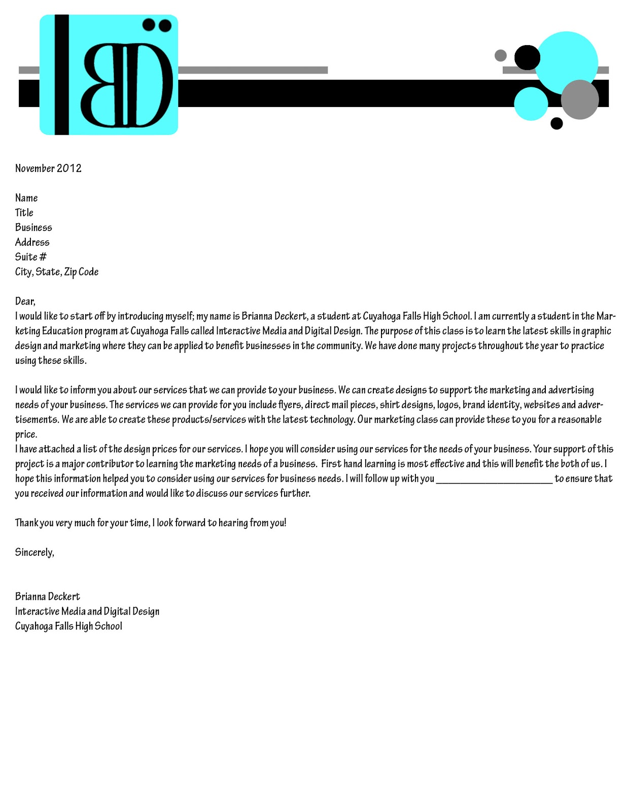 My Good Life In Marketing Education My Business Letter
