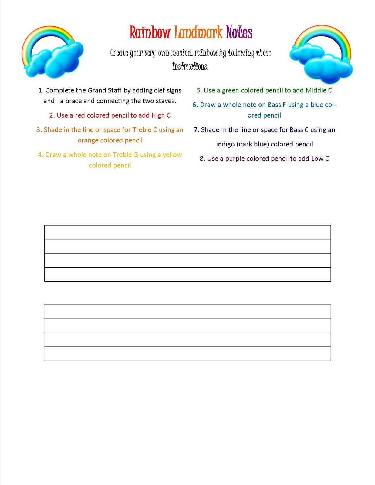 Rainbow Landmark Note Worksheet on Piano Note Reading Worksheets