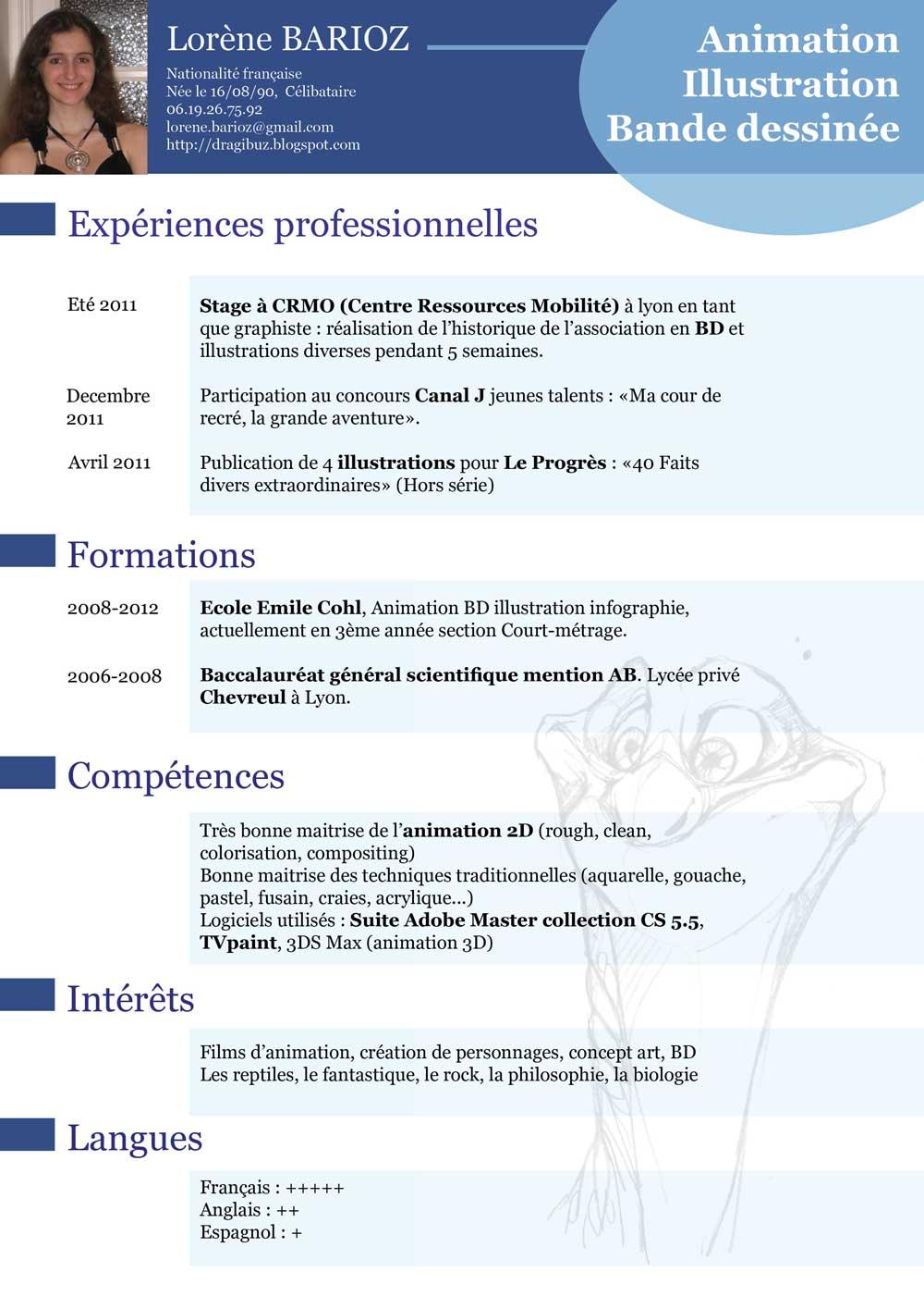 resume format  mod u00e8le curriculum vitae droit