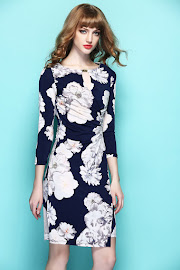 New 2017 White Floral Print Blue OL Dress
