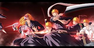 Ichigo Kurosaki Forms Shikai Vizard Hollow Vasto Lorde Bankai Anime Sword Bleach HD Wallpaper Desktop PC Background