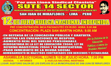 10 DE JULIO HORA: 7.00 PM ASAMBLEA SINDICAL