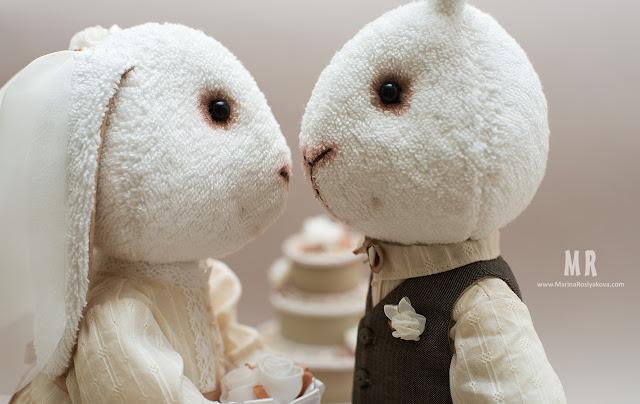 Винтажные свадебные зайцы. Авторские игрушки ручной работы от Марины Росляковой. Hand Made. Marina Roslyakova