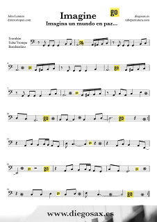 Partitura de Imagine para Trombón, Bombardino, Tuba Elicon de John Lennon Trombone, Tube, Euphonium Sheet Music Rock music score Imagine. Para tocar con tu instrumento y la música original de la canción. Partituras en clave de fa en tercera línea