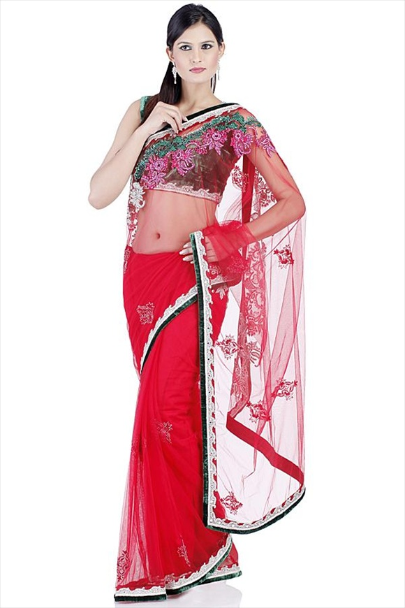 Tomato Red Net Saree indian