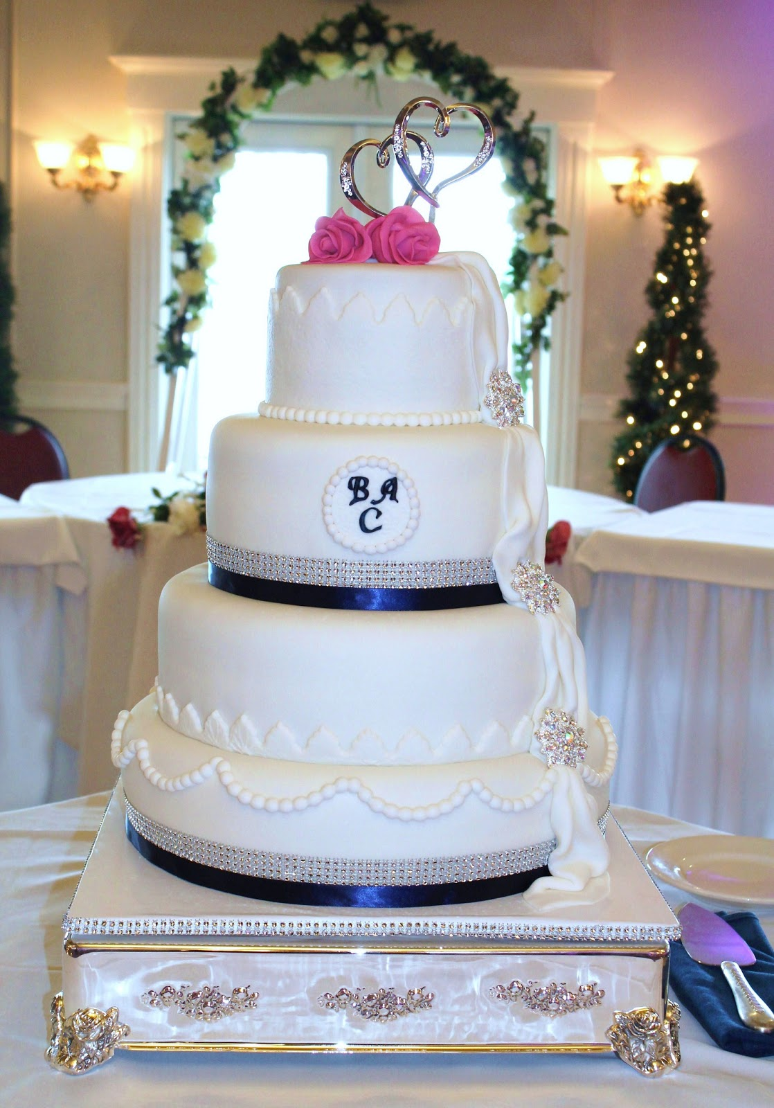 Similiar Fuschia And Navy Blue Wedding Cakes Keywords