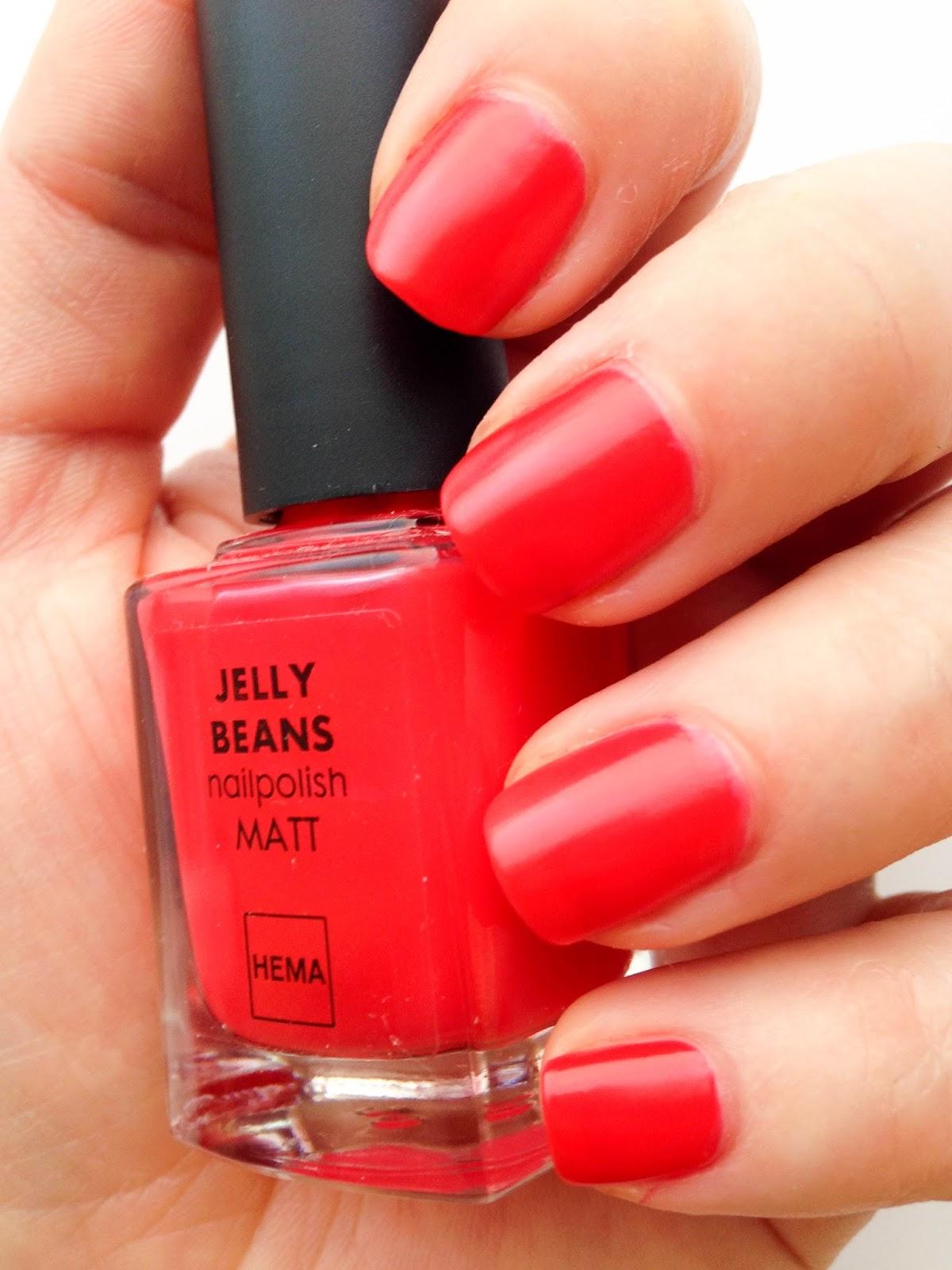 NOTD: HEMA Jelly Beans matt nail polish in Coral | Wrinkles And Heels