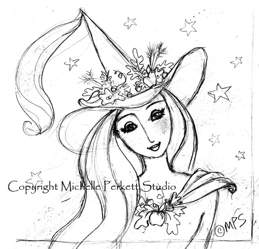 ENCHANTED INSPIRATIONS: THE GOOD WITCH DIGITAL STAMP SKETCH