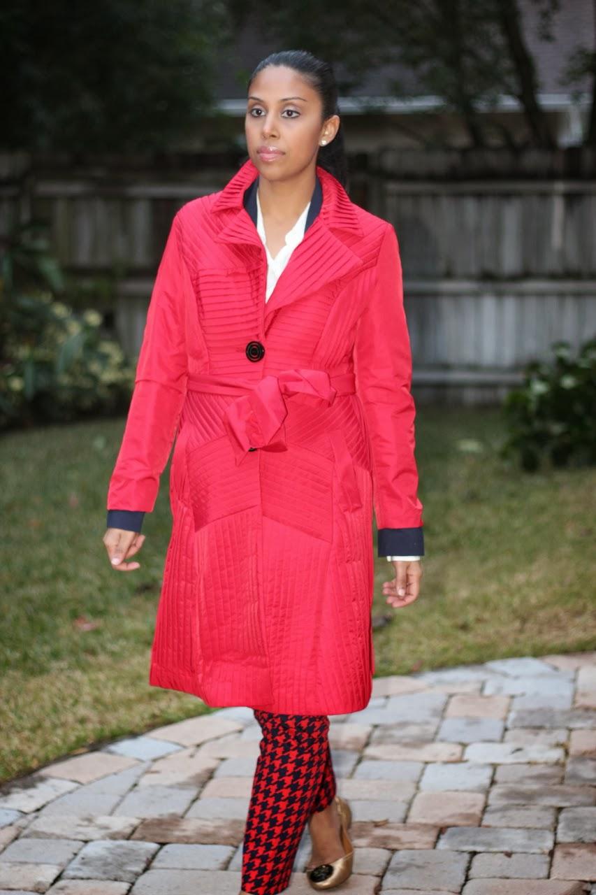 red chloe trench coat tory burch gold reva
