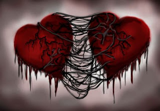 Romantic love picture: two connected hearts
