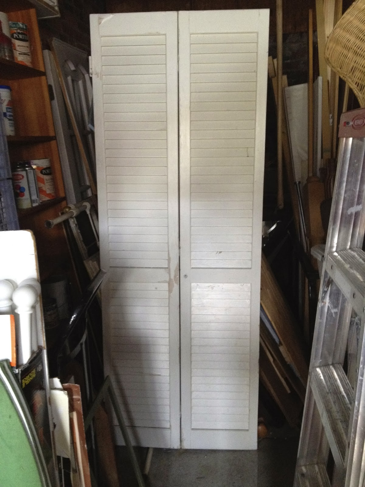1600 #5C4838 SheShe The Home Magician: Old Louvered Closet Door Becomes Headboard wallpaper Louvered Garage Doors 38251200