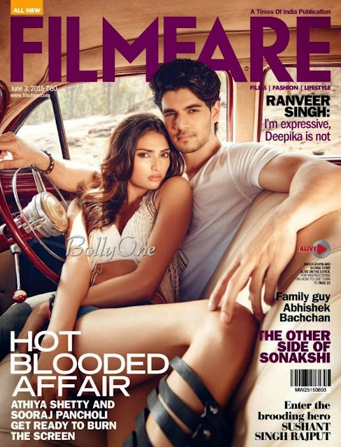 Sooraj Pancholi and Athiya Shetty Spicy Pics from Filmfare Magazine June 2015