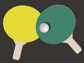 Raquetes e bolinha de ping pong (desenho)