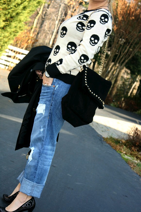 Michael Kors Beverly Double-Breasted Belted Coat, Distressed Boyfriend Jeans by Sold Denim, Skull Sweater by Love Couture, Zara Studded Suede City Bag, Aldo Peake Shoes, Prada Baroque Round Sunglasses