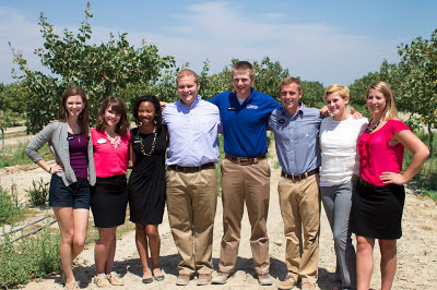 The AFA Student Advisory Team in a pistachio field