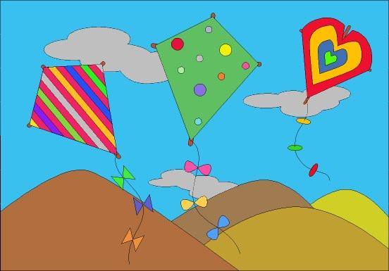 Cometas en valverde volando cometas - Cenefas de papel infantiles ...