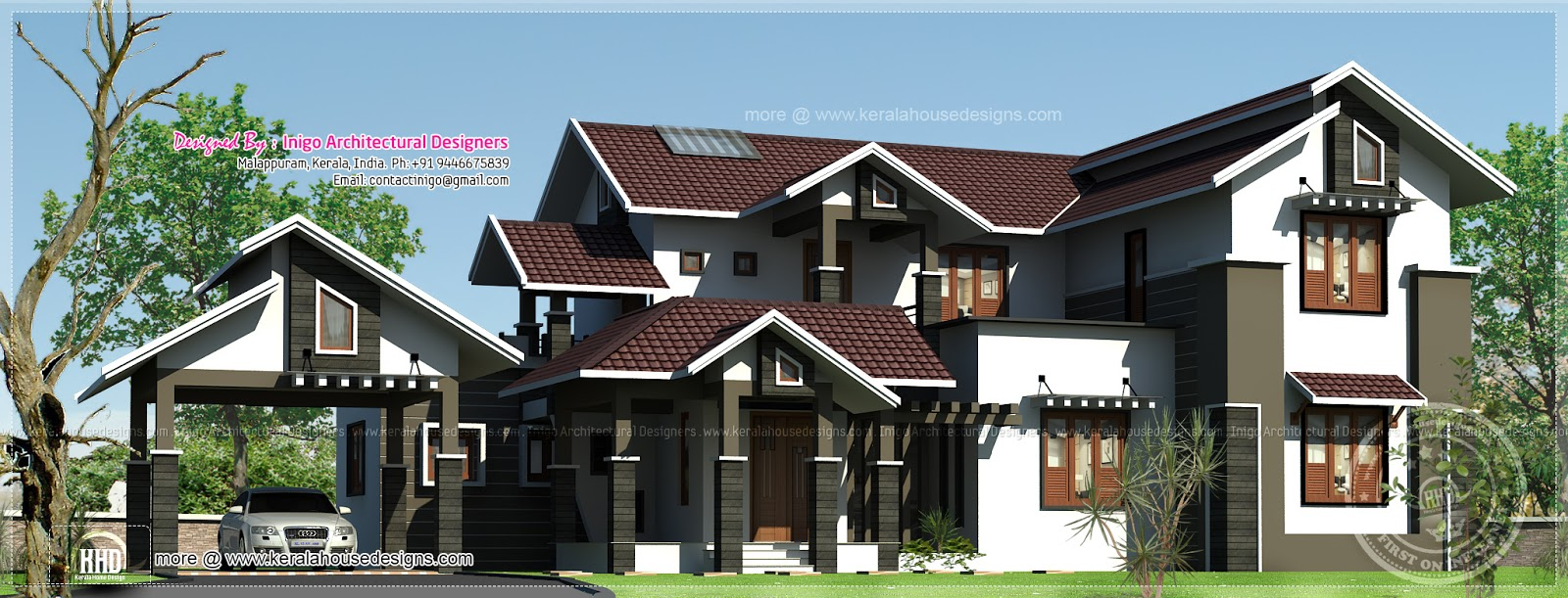 House design hilly area - 2592 Sq Ft Villa