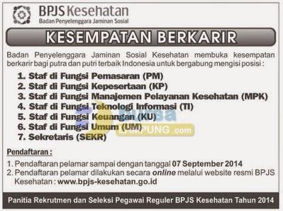 Lowongan Kerja BPJS Kesehatan Terbaru September 2014