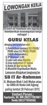 Lowongan Kerja SDIT Ar Rahman Lampung Selatan