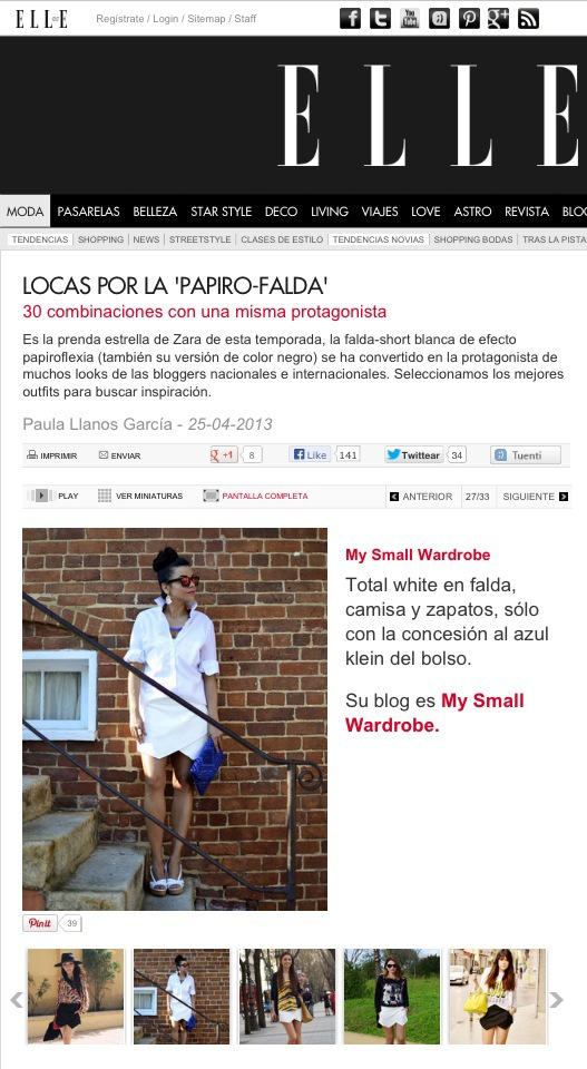 My Small Wardrobe Blog in Elle Spain