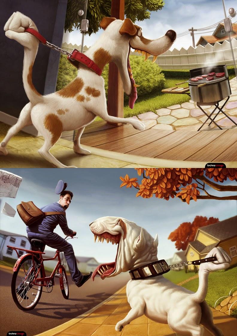 illustration de Tiago Hoisel représentant un dyptique de chien se retenant devant un facteur et un barbecue