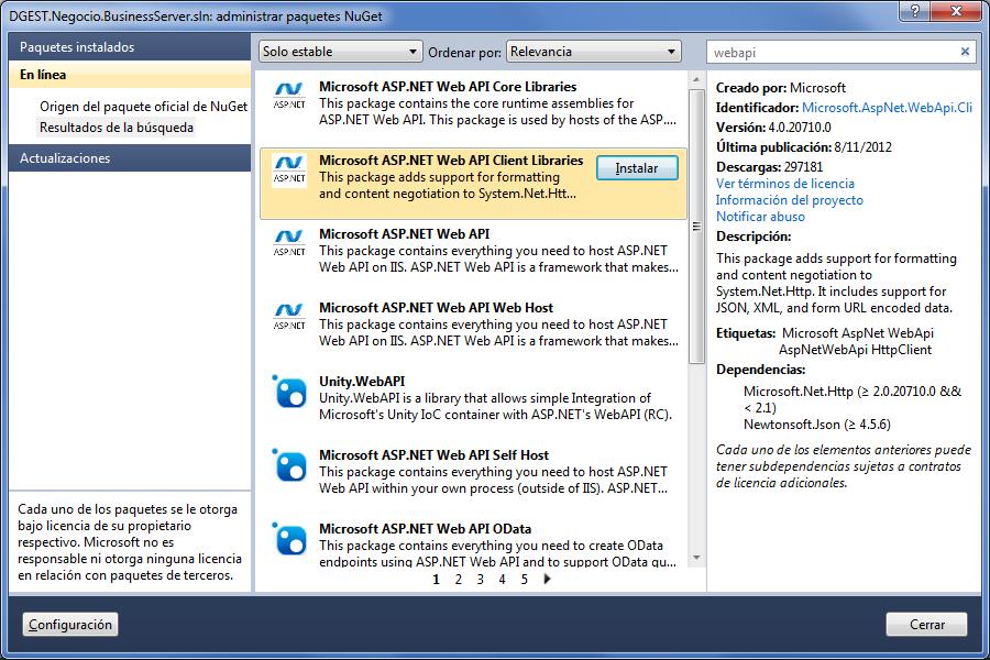 areaTIC, ASP.NET Cliente REST, Descargar Microsoft ASP.NET Web API Client