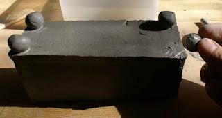 clay box legs, putting legs on clay box, hand-built ceramic pot legs