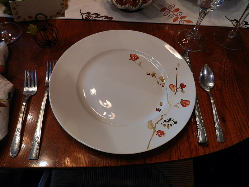 The pumpkin placecard holders came from Home Goods. Shot of dinner plate. & A Perfect Setting: October 2011