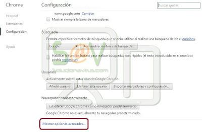 Seleccionar Opciones avanzadas en Chrome de Mac OS X