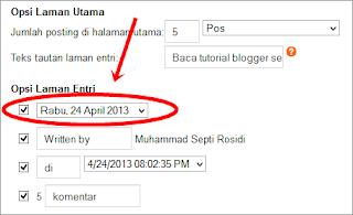 Opsi laman entri,tanggal posting,waktu posting,format tanggal,pengaturan waktu,setting waktu