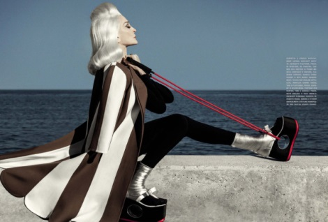 Carmen Dell'Orefice exercising in Vogue Italia