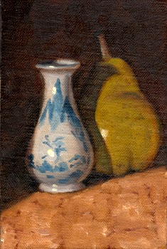 Oil painting of a miniature white porcelain vase with blue decoration, beside a green pear.