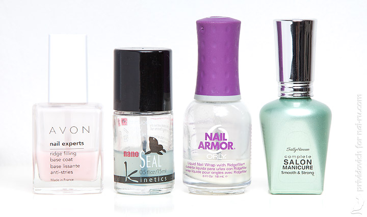 Avon Ridge Filling Base Coat, Kinetics NanoSeal, Orly Nail Armor, Sally Hansen Complete Salon Manicure Smooth and Strong