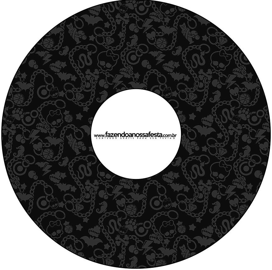 Etiquetas de Monster High Negro para CD's