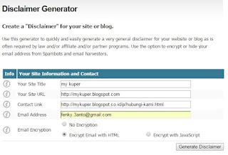 Cara mudah membuat disclaimer generator diblogger