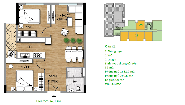 Căn hộ C2 61,1 m2 tầng 7 chung cư Valencia Garden