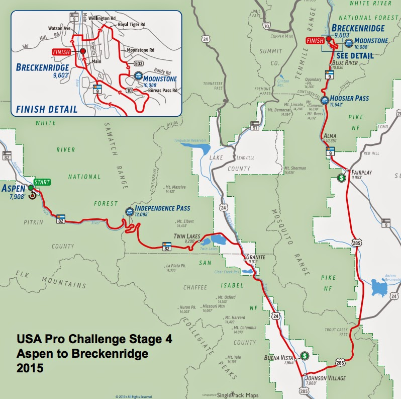 USA Pro Challenge Stage 4 route map 2015