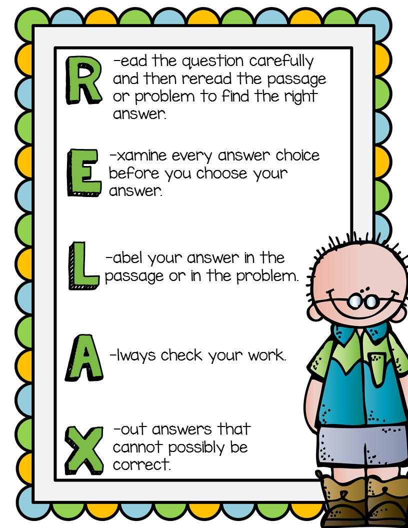 https://www.teacherspayteachers.com/Product/RELAX-Testing-Stratgies-Poster-230490