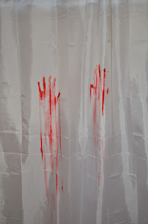 bloody hand print shower curtain Giveaway!