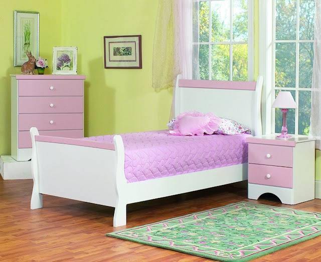 Purple and white furniture sets kids bedroom design home for Latest children bedroom designs