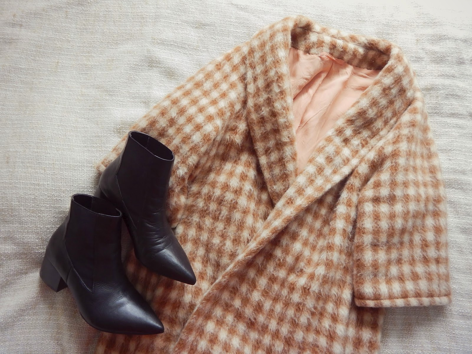 Vintage Checked Coat Pointed Boots