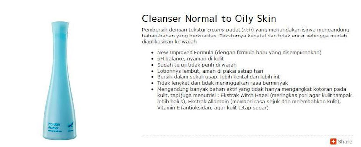 Cleanser Normal to Oily Skin - $ 8