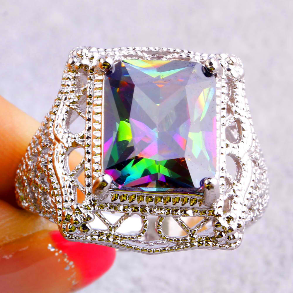 Women Mysterious Rainbow Topaz AAA Silver Ring