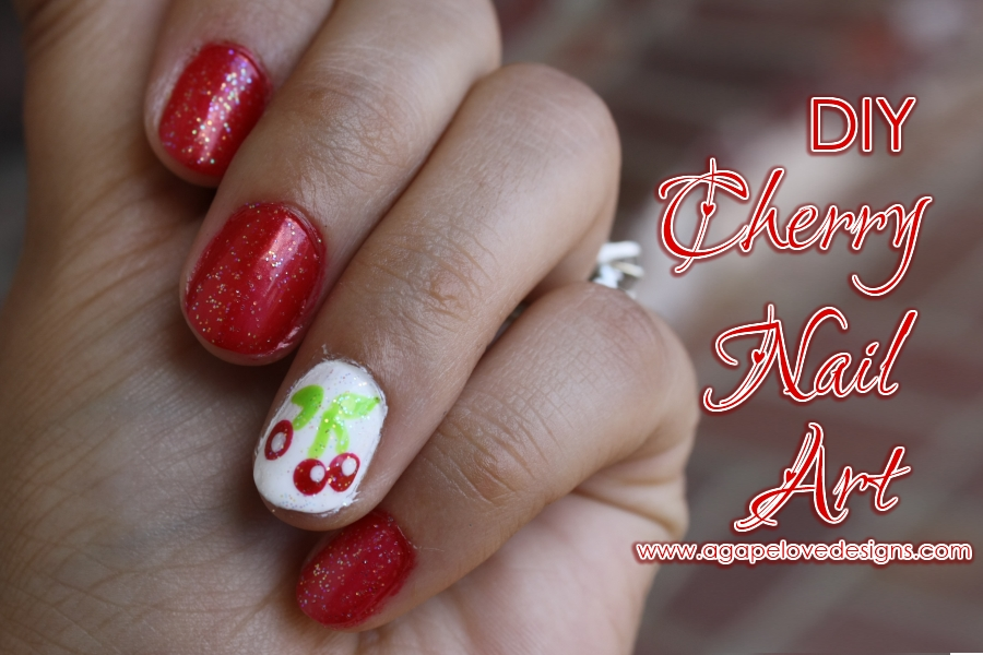 Agape love designs diy cherry nail art diy cherry nail art solutioingenieria Choice Image