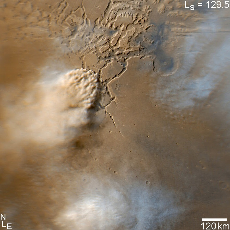 Tormenta de polvo en Marte captada por la MRO