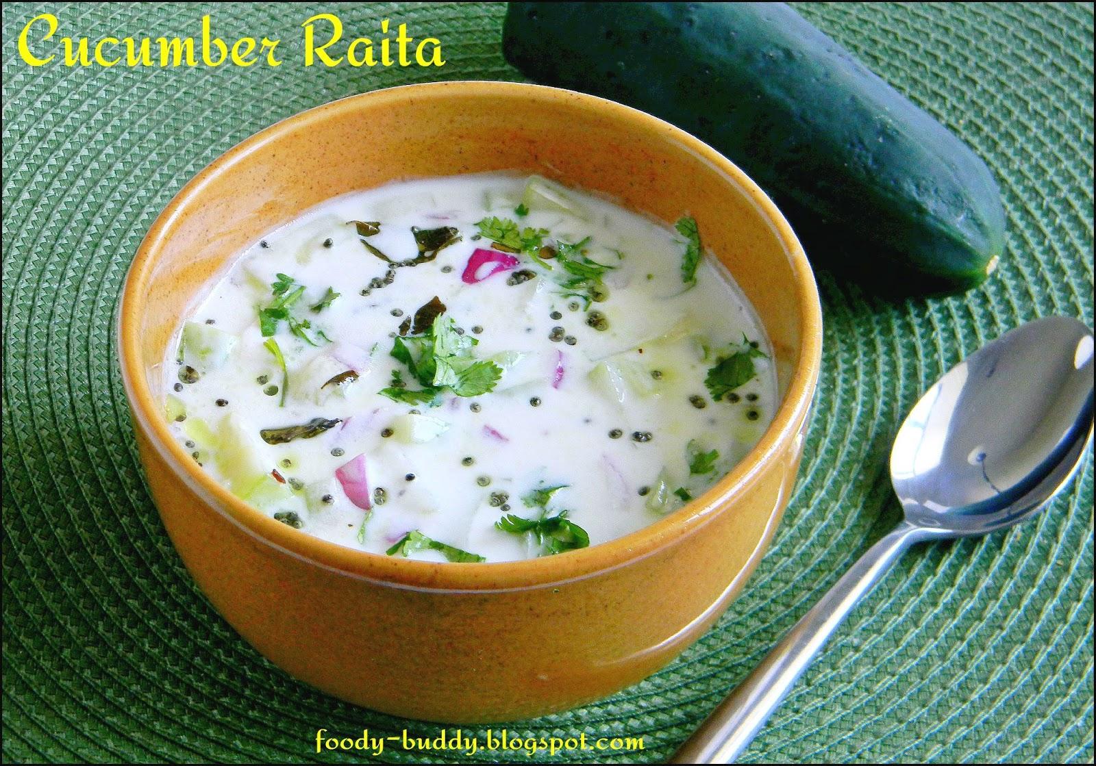 Cucumber Raita / Cucumber Yogurt Salad - FoodyBuddy