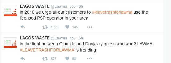 LAWMA And Sterling Bank Officially Enter Olamide And Don Jazzy's Beef #LeaveTrashForLawma (Screenshots)