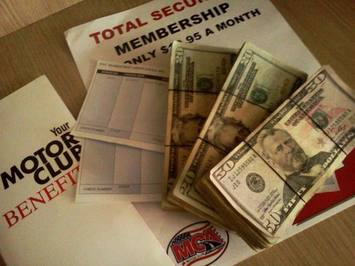 200 commission 100 guaranteed weekly for Mca motor club of america money