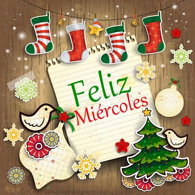 Postal navideña con mensaje de Feliz Miércoles